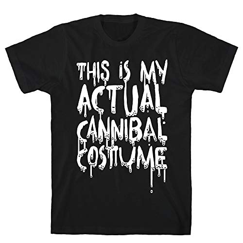 LookHUMAN This is My Actual Cannibal Costume Large Black Men's Cotton Tee -