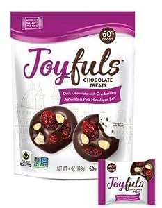 Joyfuls Dark Chocolate Treats with Cranberries, Almonds & Pink Salt, 4 oz Bags (Pack of 6)