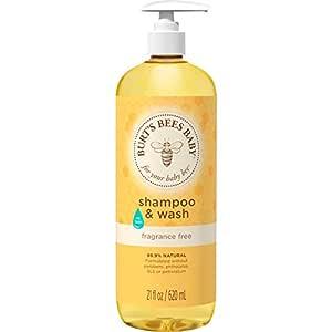 Burt's Bees Baby Shampoo & Wash, Fragrance Free & Tear Free Baby Soap - 21 Ounce Bottle