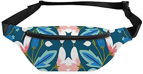 青にピンクのカラフルな春の花 ウエストバッグ ショルダーバッグチェストバッグ ヒップバッグ 多機能 防水 軽量 スポーツアウトドアクロスボディバッグユニセックスピクニック小旅行