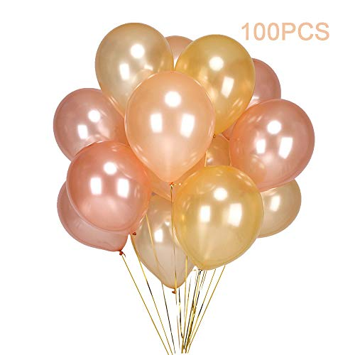 100PCS Gold & Rose Gold & Champagne Gold Color Party Balloons-12 inch Latex Helium Balloons for Birthday, Wedding, Bridal Shower, Baby Shower, Graduation, Anniversary Party Decorations Supplies