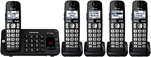 (Panasonic KX-TGE445B Cordless Phone with Answering Machine- 5 Handsets)