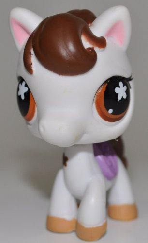 (Horse #578 (Saddle: White, Brown Hair, Brown Eyes, Purple Saddle, Tan Hooves) - Littlest Pet Shop (Retired) Collector Toy - LPS Collectible Replacement Single Figure - Loose (OOP Out of Package & Print))