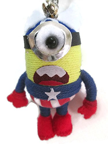 Despicable Me Minion One Eye Stuart Cosplay Captain America Voodoo String Doll Keychain (Cosplay Shop)
