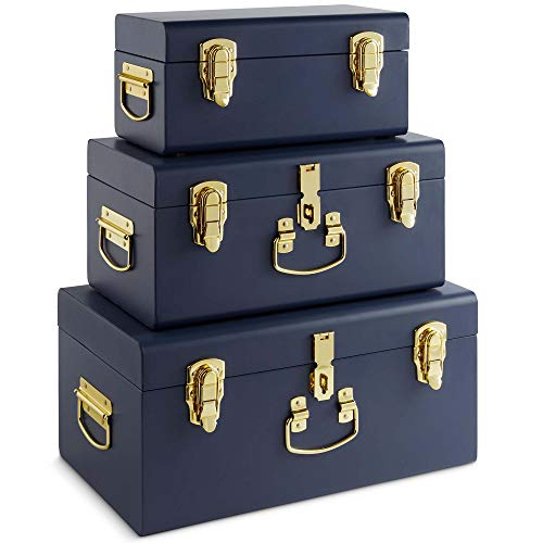 Beautify Set of 3 Navy Blue Vintage Metal Steel Storage Trunk Set Lockable and Decorative with Brass Handles - Bedroom Footlocker, College Dorm or Living Room Trunks ()