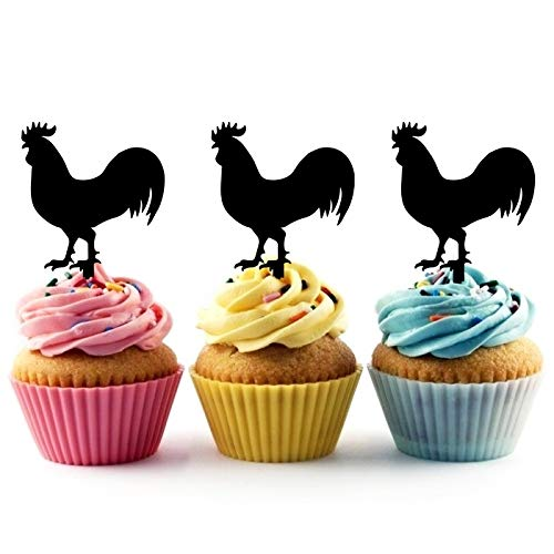 TA0819 Combed Rooster Silhouette Party Wedding Birthday Acrylic Cupcake Toppers Decor 10 pcs ()