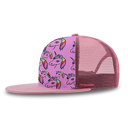 - Boys Girls Punk Rock Snapback Sun Hat Hip Hop Flat Baseball Cap Breathable Outdoor Dance Pinky Rainbow Feature Unicorn Hat with Adjustable Closure (Pink)