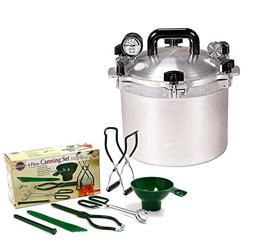 (All American 15.5 QT Pressure Cooker Bundle with 1 Rack and Norpro Canning Essentials 6 Piece Box Set)