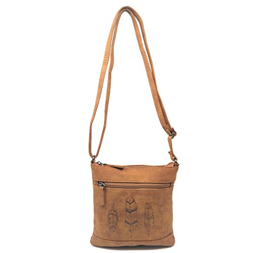 Small Faux Leather Feather Crossbody Bag, Long Strap Messenger Side Purse (Brown)