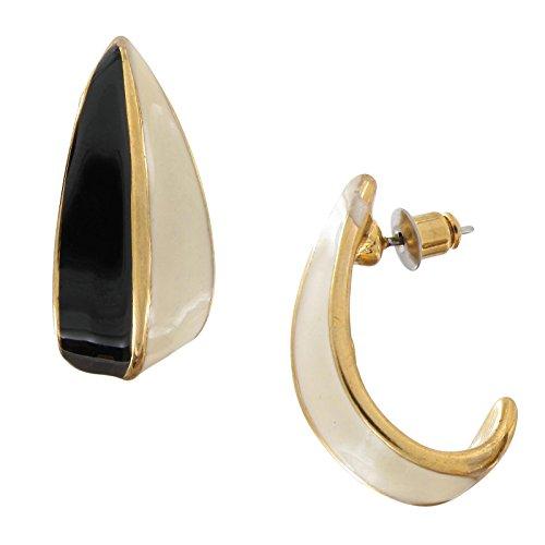 "Vintage Color Block Cream White Black Gold Tone Enamel Half Hoop Earrings 1"" Earrings For Women Set"