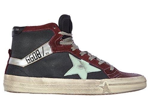 Golden Goose chaussures baskets sneakers hautes homme en daim bordeaux