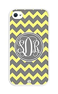 iZERCASE Monogram Personalized Yellow And Gray Chevron Pattern rubber iphone 4 case - Fits iphone 4 & iphone 4s T-Mobile, Verizon, AT&T, Sprint and International (White)