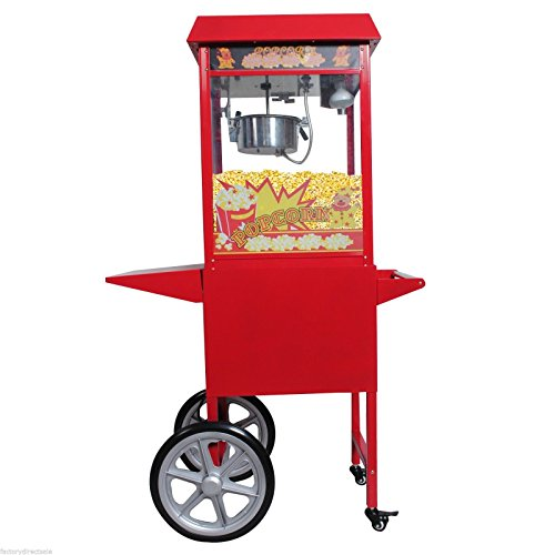 Safstar Popcorn Maker Machine Red Tabletop Popper Maker 8 Ounce Kettle Popper Popcorn Cart (Popper Machine with Cart)