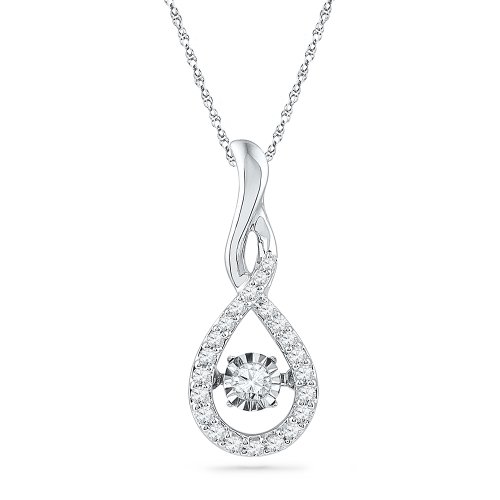 Sterling Silver Round Diamond in Motion Fashion Pendant 1 4 cttw