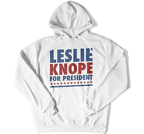 I Love Apparel Leslie Knope for President Hoodie Gift for Him Funny TV Show Funny Park Show Gifts for Fan (Hoodie - Medium, White) (Christmas Leslie Knope)