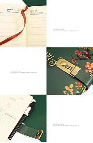 BNSDMM Journal Jahrgang Journal Tagebuch Notebook DREI-stellige Passwort Kombinationsschloss kreatives Briefpapier Multifunktions Horizontale Linie Format 2 Stück (Color : Green)