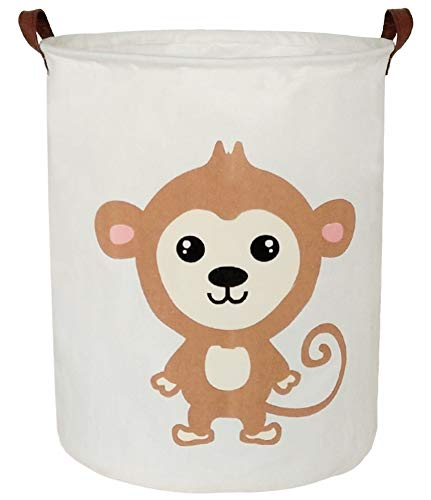 BOOHIT Storage Baskets,Canvas Fabric Laundry Hamper-Collapsible Storage Bin with Handles,Toy Organizer Bin for Kid's Room,Office,Nursery Hamper, Home Decor (Cute Monkey) (Box Large Hamper)