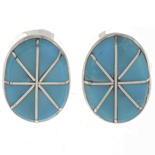 Zuni Inlaid Turquoise Stud Earrings Sterling Oval Posts