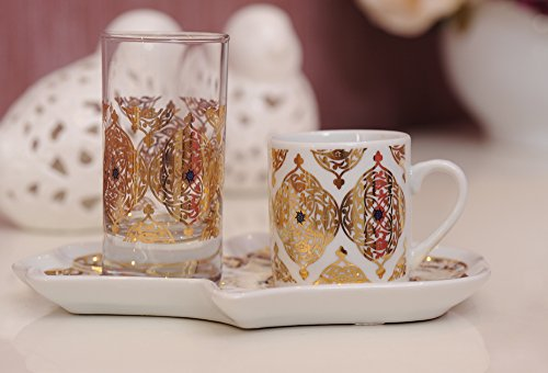 Decorated Turkish Greek Arabic Coffee Espresso Serving Set for 1 with Demitasse Cup Glass & Tray (Mevlevi)