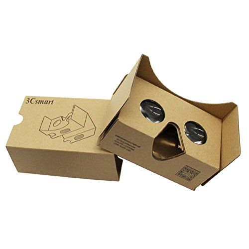 """3Csmart Cardboard Kit 2.0 3D VR Virtual Reality DIY Glasses with Headband for 3D Movies and Games Compatible with 3.5""""-6"""" Screen"""