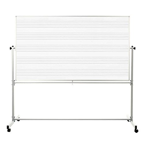 Offex School Classroom 72'' x 48'' Mobile Magnetic Double Sided Music Whiteboard, 1 Pack (OF-MB7248MM-1PK) by Offex