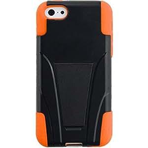 PiGGyB Dual Layer Heavy Duty Hybrid Series Case with Kickstand for Apple iPhone 3s Black Orange