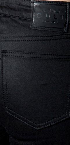 Pu Coated Stretch Twill Jeans (27, Black)