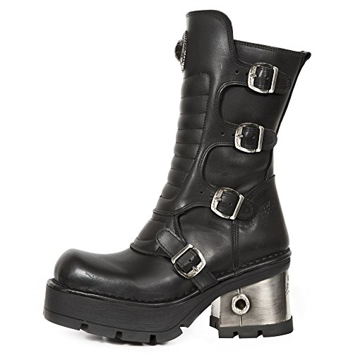 Punk Buckle Black 373QX Women's New Rock Rock Boots Heavy Gothic Heel M Ladies S3 nTqZ0Zzvw