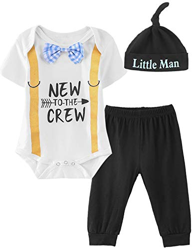 Infant Newborn Striped Outfit Set Baby Boy New to The Crew Bodysuit (White,3-6 Months) ()