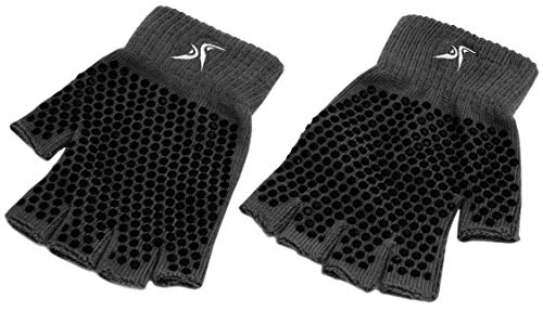 Prosource Fit Grippy Yoga Gloves, One Size Fits All, Non-Slip Fingerless Design in Black