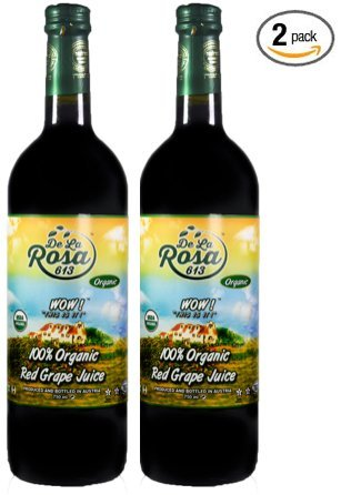 De La Rosa Real Foods & Vineyards - Kosher Organic Austrian Red Grape Juice TWIN PACK (25.4 oz/750 ml)