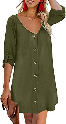 Hotouch Women's Casual Dresses V Neck Tunic Dress 3/4 Sleeve Button Down Dress S-XXL