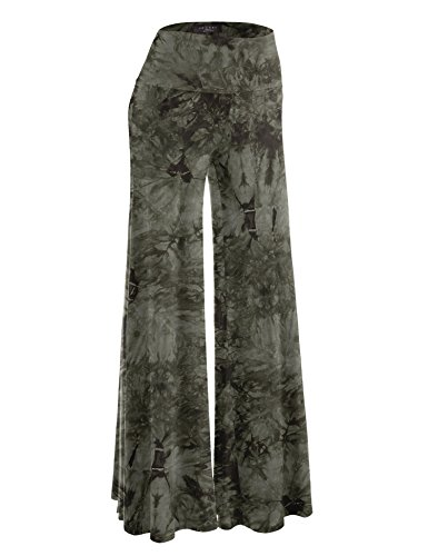 (Made By Johnny WB1060 Womens Chic Tie Dye Palazzo Pants M)
