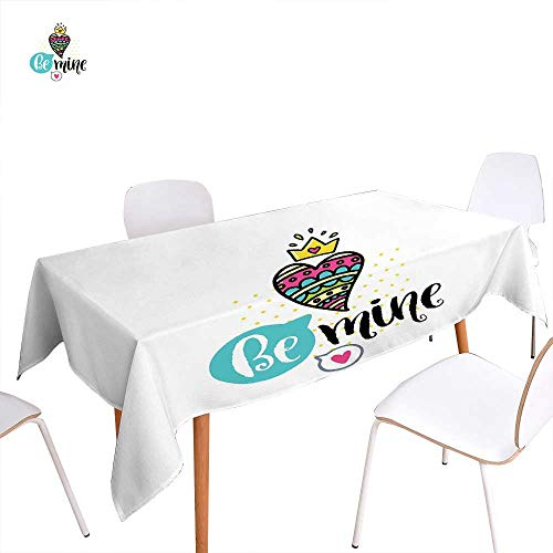 familytaste Romantic Dinner Picnic Table ClothColorful Patterned Heart Shape with a Crown Creative Typography Phrase Be Mine Waterproof Table Cover for Kitchen 60
