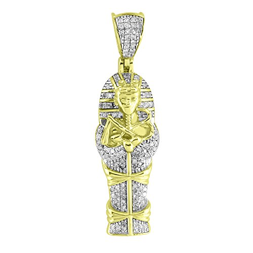Egyptian Mummy Tomb Pendant Hip Hop Iced Out Hip Hop Real Diamonds 10k Gold Mens by Master Of Bling