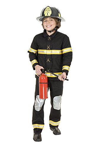 Charades Plastic Fire Chief Helmet Costume Accessory, Black, One Size - Black Fire Chief Hat