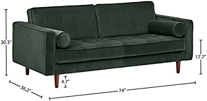 Fantastic Rivet Aiden Tufted Mid Century Modern Velvet Bench Loveseat Sofa 74W Hunter Green Gmtry Best Dining Table And Chair Ideas Images Gmtryco