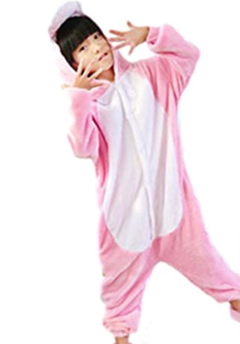 ANGELIENO Unisex Dinosaur Kids Pajamas Animal Costume Sleeping Wear 5 size (L, Pink Dinosaur)