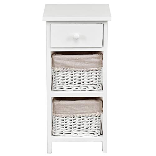 Giantex Wooden Nightstand Chest Cabinet W/Two Rattan Baskets for Bedroom, Living Room Home Furniture Storage Bedside End Table (Nightstand White Wooden)