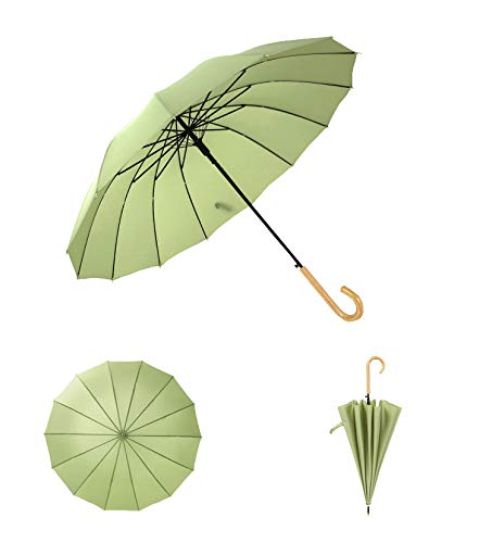 Auto Open Straight Long Solid Color Umbrella with 16 Ribs - Durable and Portable - Wooden Handle (Green) ()