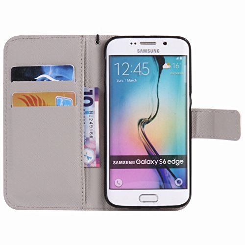 Custodia Samsung Galaxy S6 Edge / G925 Cover Case, Ougger Portafoglio PU Pelle Magnetico Stand Morbido Silicone Flip Bumper Protettivo Gomma Shell Borsa Custodie con Slot per Schede, Skull