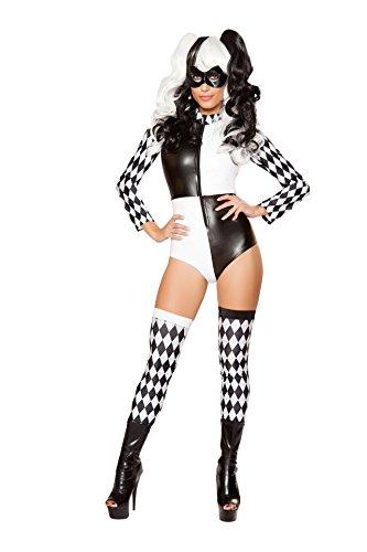 Fest Threads 2 PC Court Jester Harlequin Black & White Harlequin Romper w/Mask Costume for $<!--$42.50-->