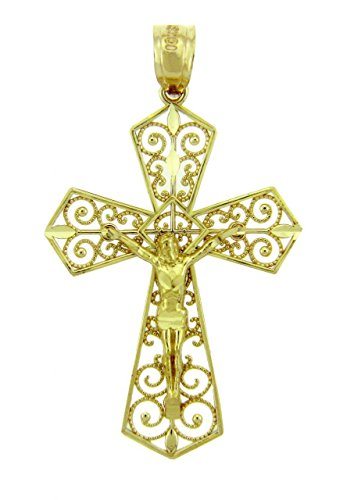 10k Yellow Gold Filigree-Style Cross Pardon Crucifix Charm Pendant by Gold Crucifixes