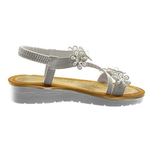 Wedge Thong Angkorly 3 cm Fashion Ankle Rhinestone Platform Platform Strap Slip On 5 Women's White Sandals Flowers Shoes 7Pqarg6Hw7