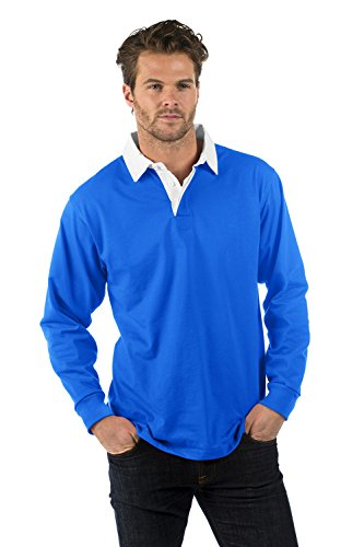 Polo Bleu Longues Manches Prime amp; Rugby Femme Coton polyester Sleeve Roi Shirt Long Bruntwood 280gsm Premium Homme SIZ5wItq