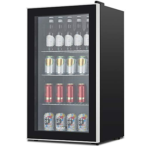 - KUPPET 120-Can Beverage Cooler and Refrigerator, Small Mini Fridge for Home, Office or Bar with Glass Door, Perfect for Soda Beer or Wine, Black&Stainless Steel, 3.1 Cu.Ft