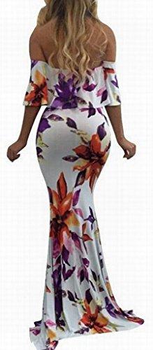 Femmes Domple Imprimé Floral De L'épaule Sexy Partie Robe Volantée Maxi Moulante 1