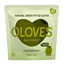 Oloves Basil & Garlic Marinated Pitted Green Olives - 30g
