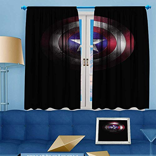 PRUNUS Blackout Curtain Shield of Captain America Marvel cine ographic Universe Room Darkening Curtains W55 x L63 inch