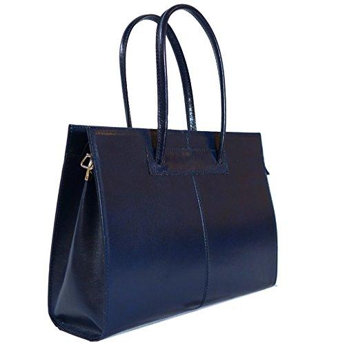 ROMA Blaue Damen Aktentasche / Arbeitstasche, Echtes Leder aus Italien